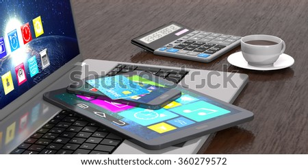 Laptop, tablet pc, smart phone, calculator, bank card and cup of coffee on wooden background. - stock photo