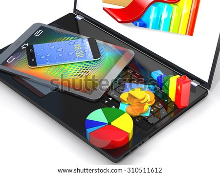 Laptop, tablet pc, smartphone, credit card, coins and a diagram are on a white background - stock photo