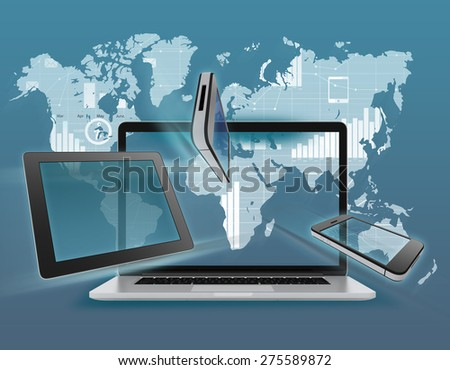 Laptop, tablet, phone on the background of the world map with icons - stock photo