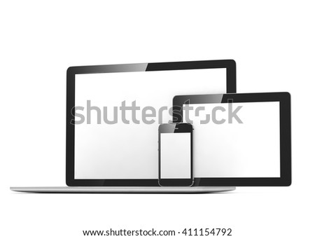 laptop, tablet, phone, on white. 3d rendering.