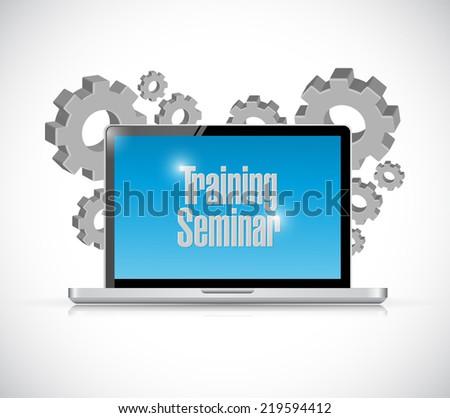 laptop training seminar gear illustration design over a white background - stock photo