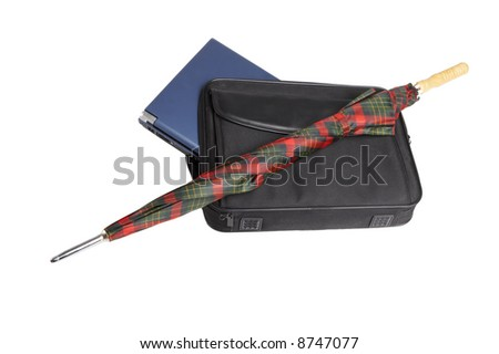 laptop, umbrella, bag. on white - stock photo