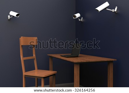 Laptop watched by 3 cameras - stock photo