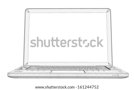 Laptop. Wire frame. Isolated render on a white background - stock photo