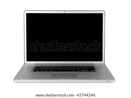 Laptop with a black screen isolated on a white background