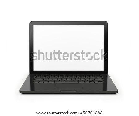 Laptop with a blank screen, isolated on white background. .3d illustration - stock photo