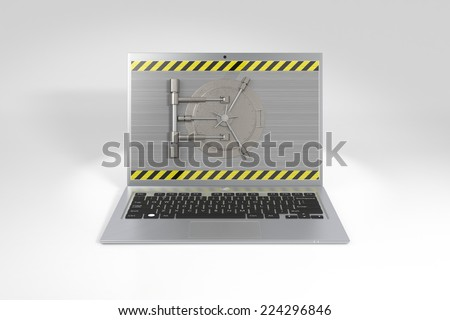 Laptop with a safe lock. Data security and privacy concept. - stock photo