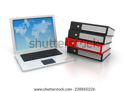Laptop with a stack of documents - stock photo