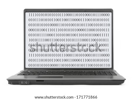 Laptop with abstract binary code over white background - stock photo