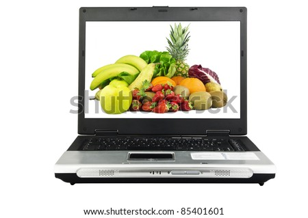 Laptop with background on the screen - stock photo
