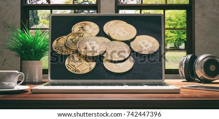 Laptop with bitcoin screen and silver color placed on a wooden desk, Room with a window overlooking the beautiful blurred nature. 3d illustration