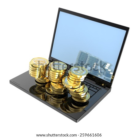Laptop with bitcoins isolated over white. Computer generated 3D photo rendering. - stock photo