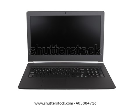 Laptop with black screen isolated on white background