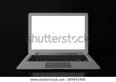 Laptop with blank screen isolated on black - stock photo