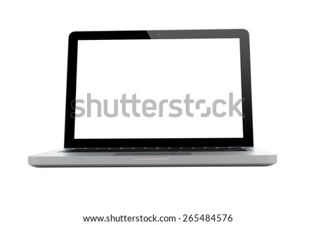 Laptop with blank screen isolated on white