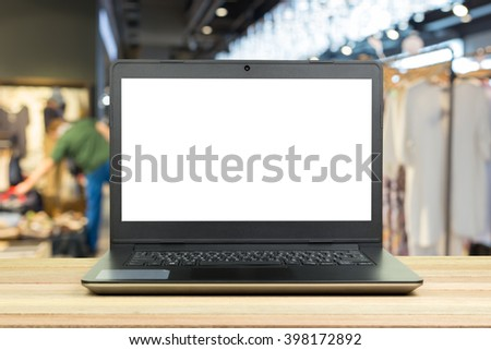 Laptop with blank screen on table, Computer, Notebook - stock photo
