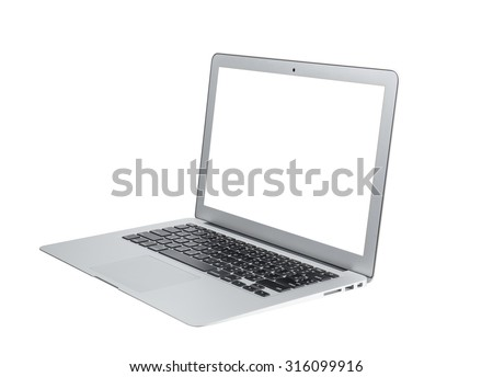 Laptop with blank white screen. Isolated on white background