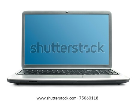 Laptop with blue screen - stock photo