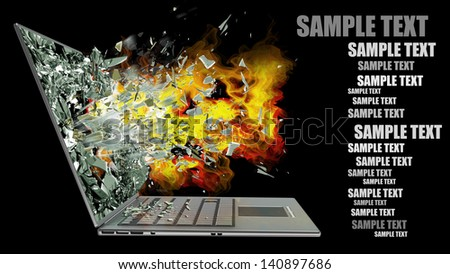 laptop with broken screen on fire isolated on black background High resolution 3d - stock photo