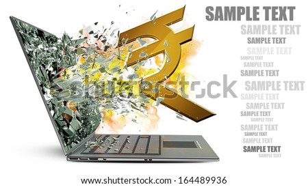 laptop with broken screen on fire symbol of currencies isolated on white background High resolution 3d  - stock photo