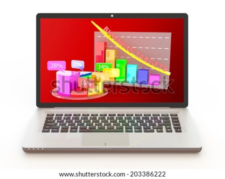laptop with business profits growth graph
