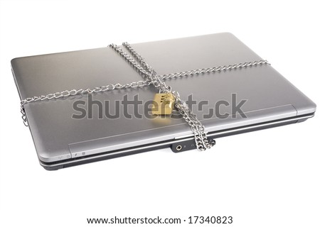 Laptop with chains and combination padlock isolated on white