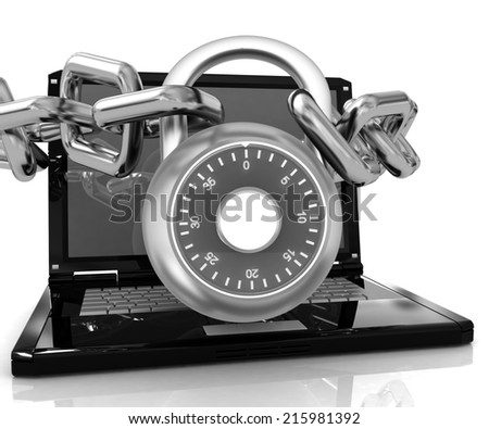 Laptop with chains and lock.3d illustration on white isolated background.  - stock photo