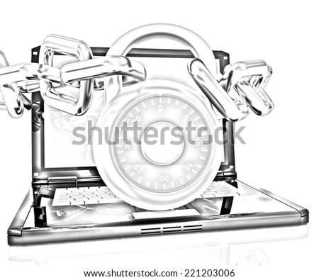 Laptop with chains and lock.3d illustration on white isolated background. Pencil drawing  - stock photo