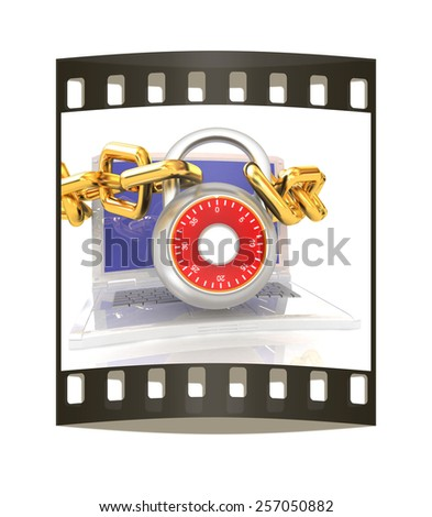 Laptop with chains and lock.3d illustration on white isolated background. The film strip - stock photo