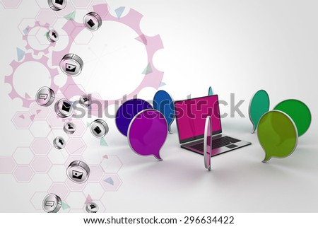 Laptop with chatting bubble - stock photo