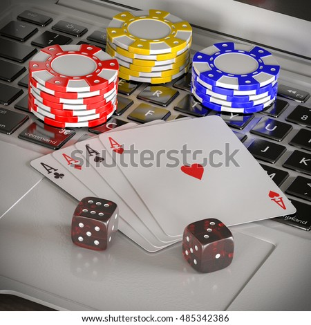 laptop with chips, dices and poker cards on the table 3d illustration