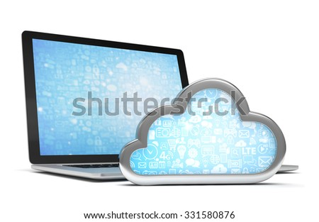 Laptop with cloud computing symbol. 3d render - stock photo
