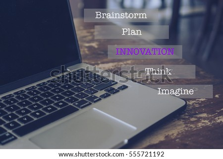 Laptop with creativity, design and idea wording concept