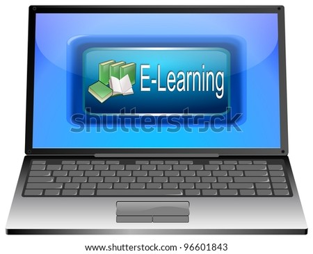 Laptop with E-Learning - stock photo