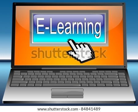 Laptop with E-Learning Button - stock photo