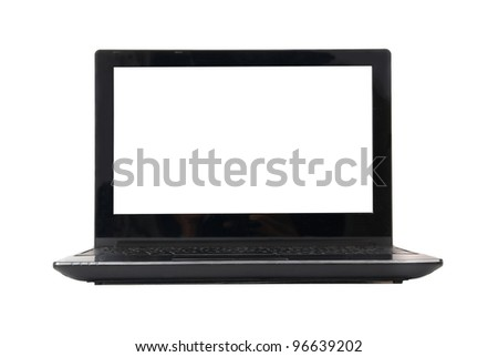 Laptop with empty screen isolated on white. Front view. - stock photo