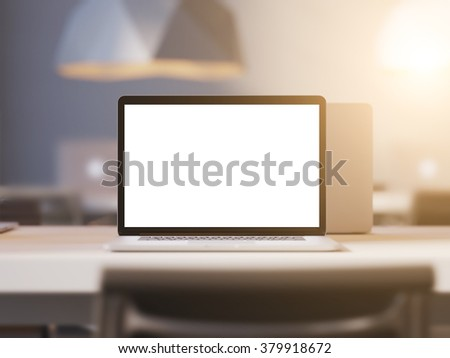 Laptop with empty screen workspace in office. Sun rays light. 3d render - stock photo