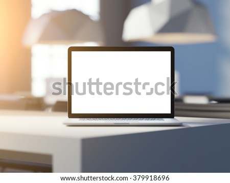 Laptop with empty screen workspace on desk in the office. Sun rays light. 3d render