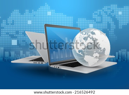 Laptop with globe and financial charts and the map in the background - stock photo