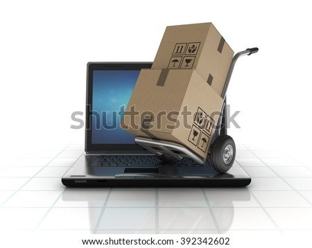Laptop with Hand Truck and Cardboard Boxes  - High Quality 3D Render   - stock photo