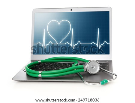 laptop with heart rhythm ekg on screen and stethoscope - stock photo