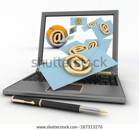 Laptop with incoming letters via e-mail. 3d render illustration - stock photo