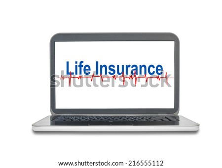 Laptop with Life Insurance word on screen display isolated on white - stock photo