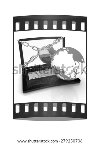 Laptop with lock, chain and earth on a white background. The film strip - stock photo