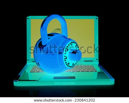 Laptop with lock.3d illustration on black isolated background. - stock photo