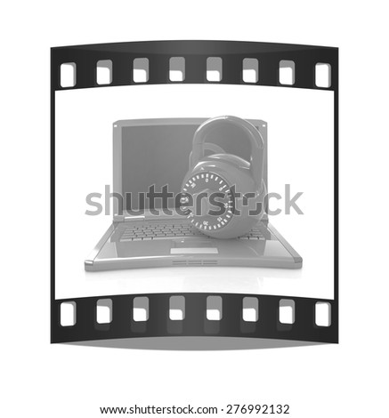 Laptop with lock.3d illustration on white isolated background. The film strip - stock photo