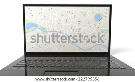 Laptop with map isolated on white background  - stock photo