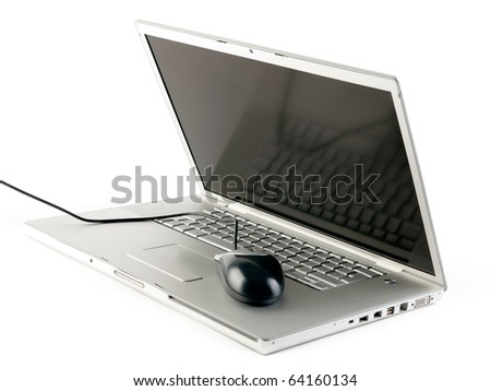 Laptop with mouse isolated on white - stock photo