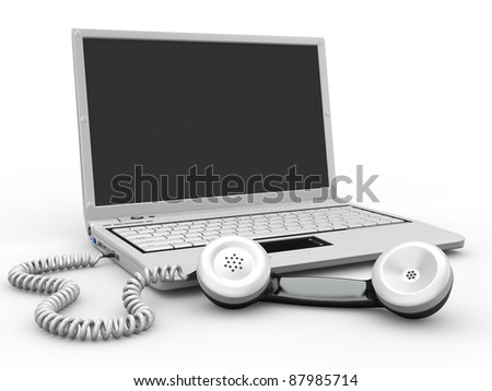 Laptop with old-fashioned phone reciever on white background. 3d