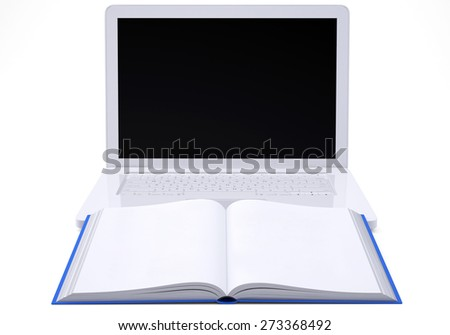 Laptop with open book and with black display on isolated white background, front view
